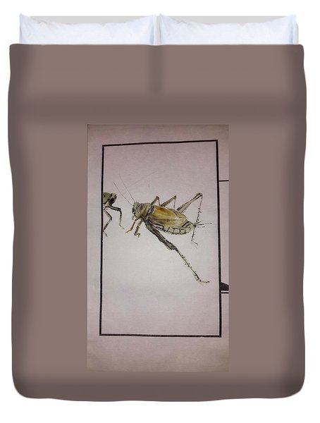 Duvet Cover featuring the painting Bugs And Blooms Album by Debbi Saccomanno Chan