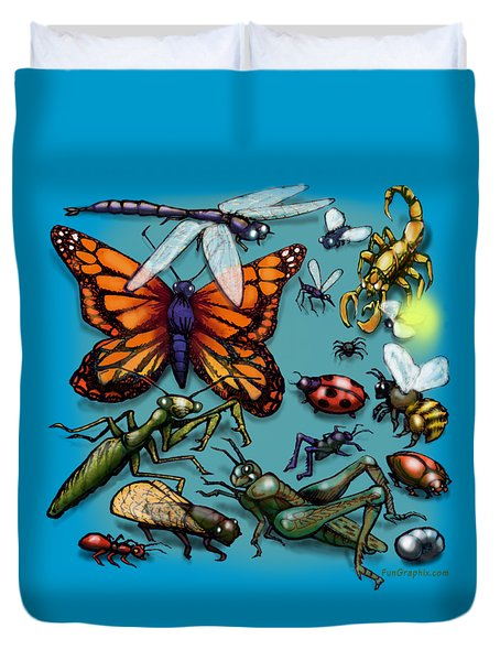 Duvet Cover featuring the painting Bugs by Kevin Middleton