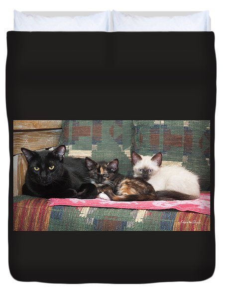 Duvet Cover featuring the photograph Bugzy And His Babies by Karen Slagle