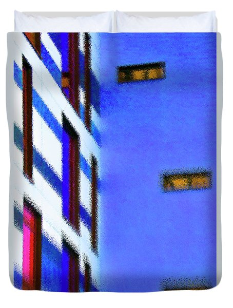 Duvet Cover featuring the digital art Building Block - Blue by Wendy Wilton
