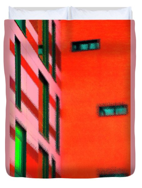 Duvet Cover featuring the digital art Building Block - Red by Wendy Wilton