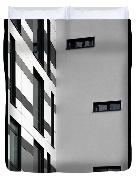 Duvet Cover featuring the photograph Building Block - Black And White by Wendy Wilton