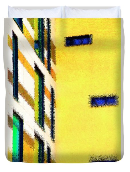 Duvet Cover featuring the digital art Building Block - Yellow by Wendy Wilton