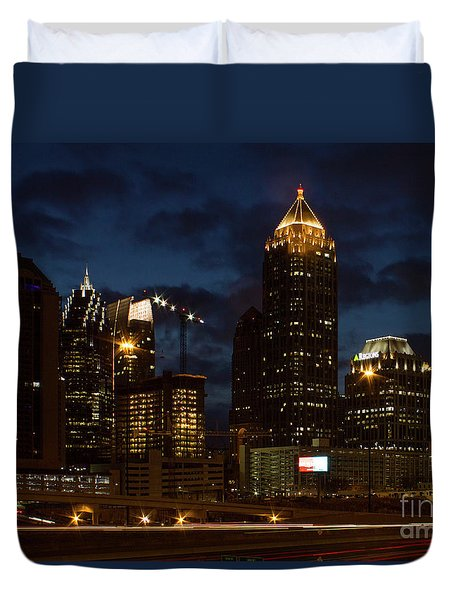Duvet Cover featuring the photograph Building Boom Midtown Atlanta Construction Art by Reid Callaway