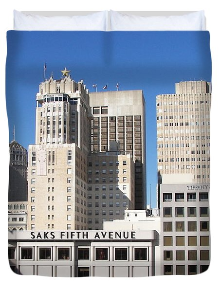 Duvet Cover featuring the photograph Buildings by Carol  Bradley