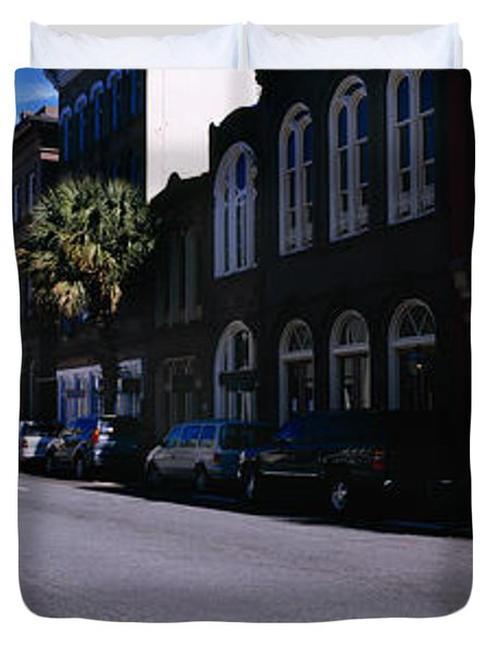 Buildings On Both Sides Of A Road Duvet Cover by Panoramic Images