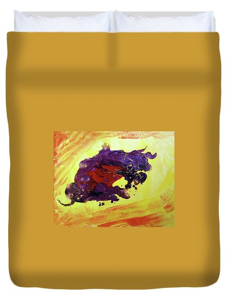 Duvet Cover featuring the painting Bull Abstract by Asha Sudhaker Shenoy