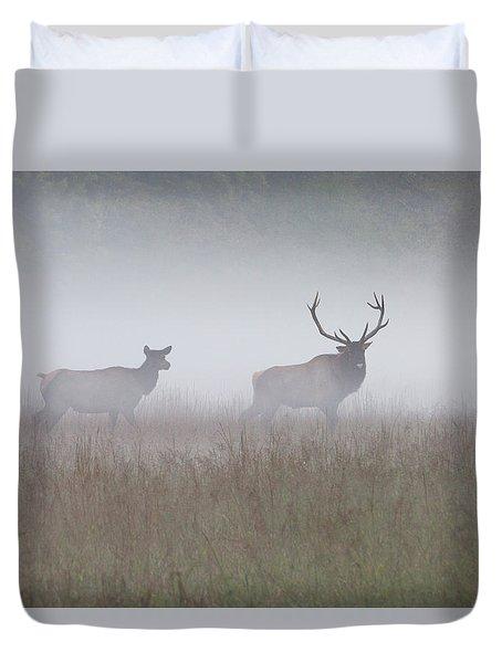 Bull And Cow Elk In Fog - September 30 2016 Duvet Cover
