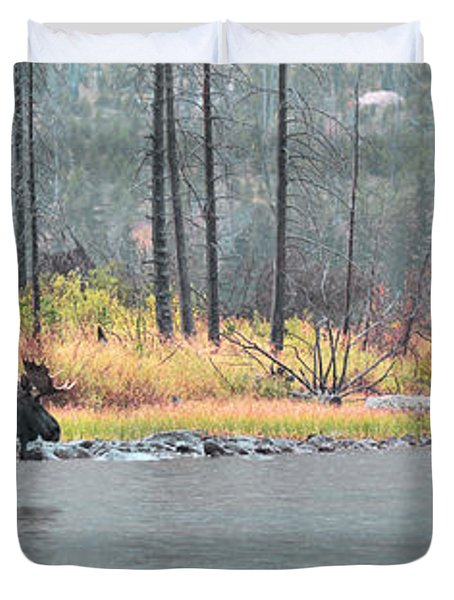 Bull And Cow Moose In East Rosebud Lake Montana Duvet Cover