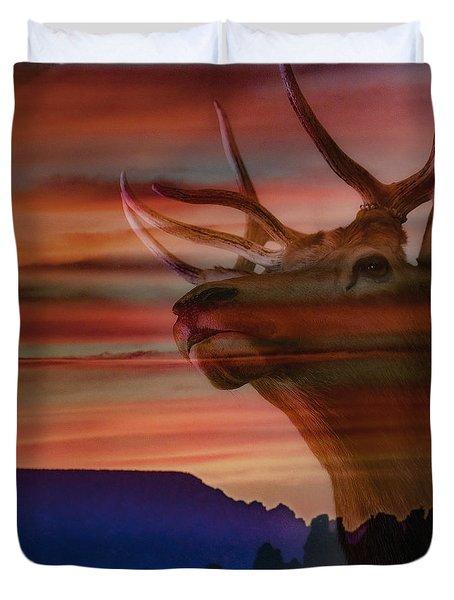 Bull Elk And Sedona Sunset Duvet Cover