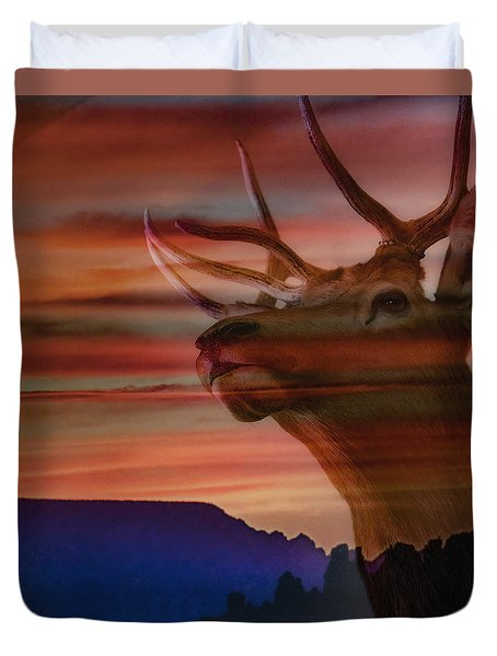 Duvet Cover featuring the photograph Bull Elk And Sedona Sunset by Ron White