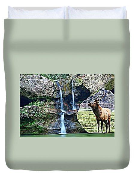 Bull Elk By A Waterfall Duvet Cover
