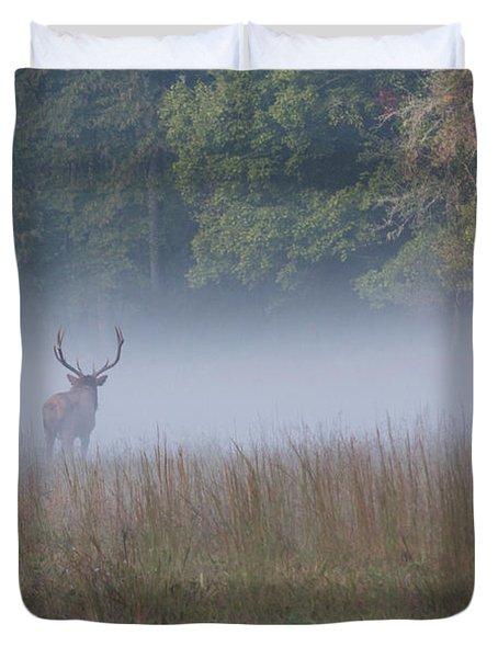 Bull Elk Disappearing In Fog - September 30 2016 Duvet Cover