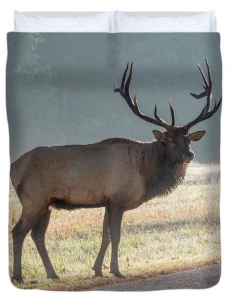 Bull Elk Watching Duvet Cover