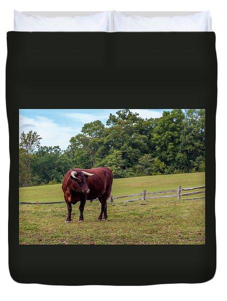 Bull In Field Duvet Cover