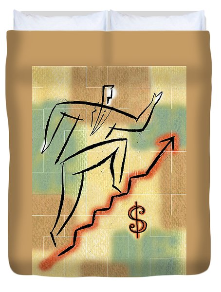 Duvet Cover featuring the painting Bull Market by Leon Zernitsky