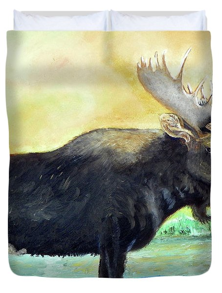 Bull Moose In Mid Stream Duvet Cover