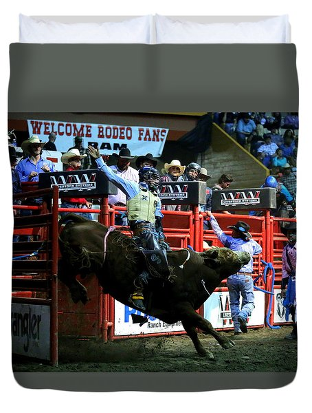 Duvet Cover featuring the photograph Bull Riding At The Grand National Rodeo by John King