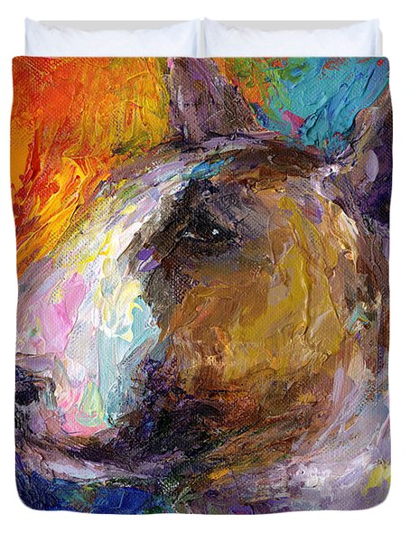Bull Terrier Dog Painting Duvet Cover