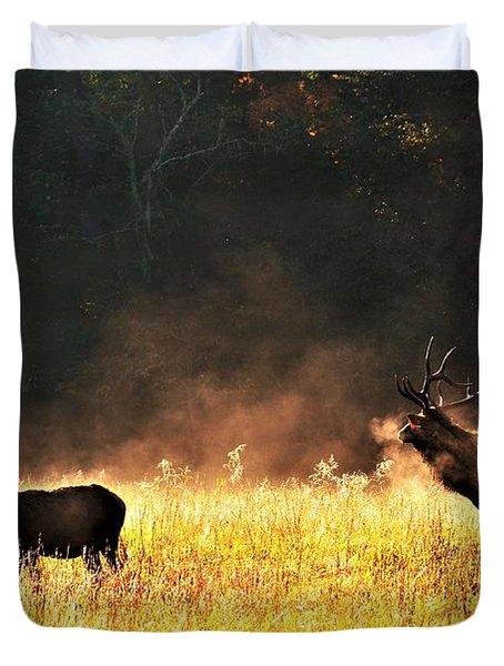 Bull With His Girl Duvet Cover