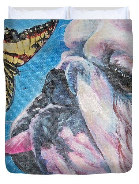 Bulldog And Butterfly Duvet Cover