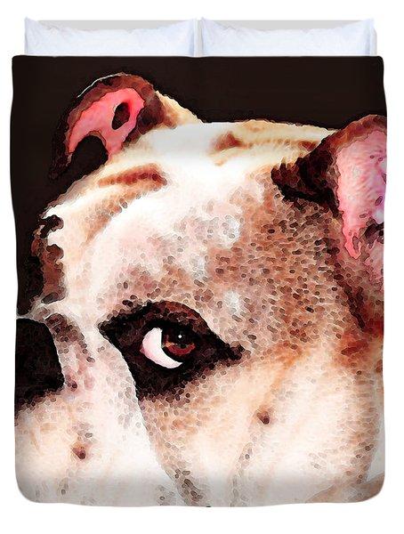 Bulldog Art - Let's Play Duvet Cover by Sharon Cummings