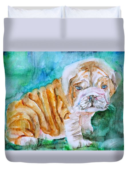 Duvet Cover featuring the painting Bulldog Cub  - Watercolor Portrait by Fabrizio Cassetta