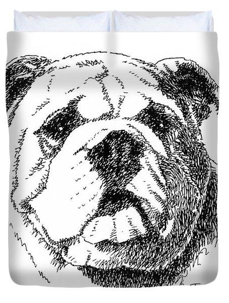 Bulldog-portrait-drawing Duvet Cover