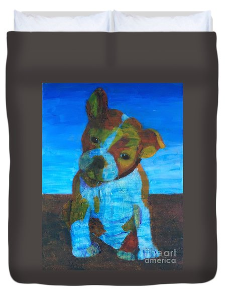 Duvet Cover featuring the painting Bulldog Puppy by Donald J Ryker III