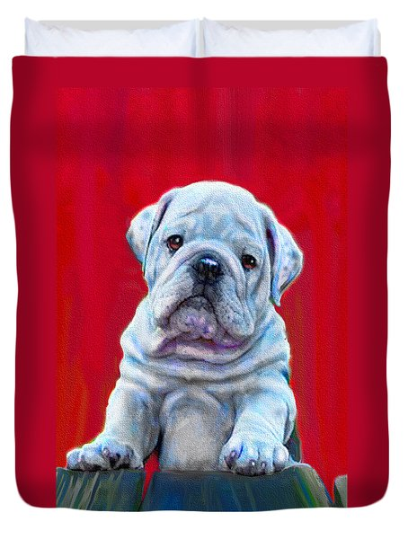 Duvet Cover featuring the digital art Bulldog Puppy On Red by Jane Schnetlage