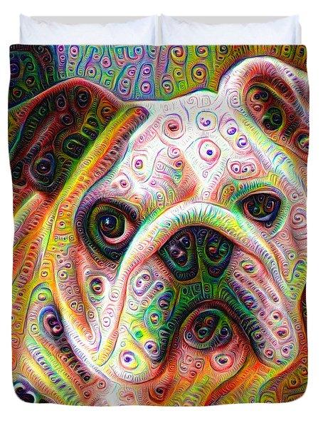 Bulldog Surreal Deep Dream Image Duvet Cover