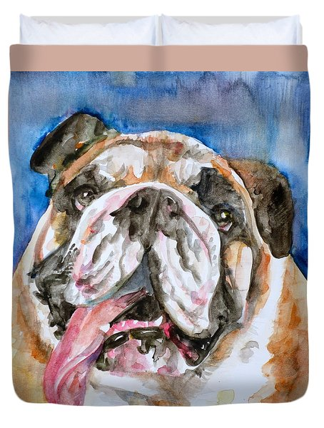 Duvet Cover featuring the painting Bulldog - Watercolor Portrait.3 by Fabrizio Cassetta