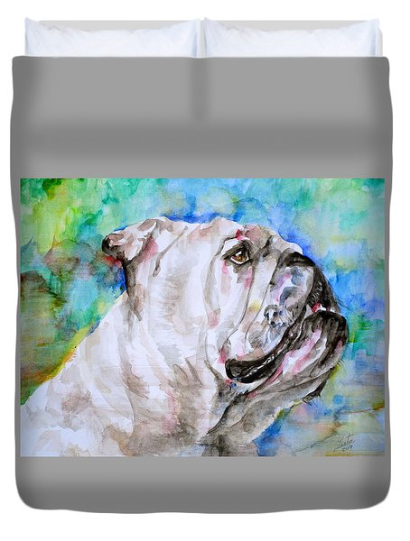 Duvet Cover featuring the painting Bulldog - Watercolor Portrait.4 by Fabrizio Cassetta