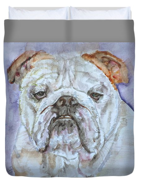 Duvet Cover featuring the painting Bulldog - Watercolor Portrait.5 by Fabrizio Cassetta