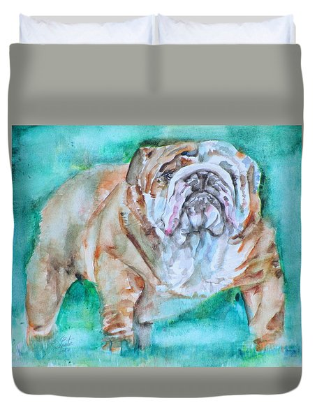 Duvet Cover featuring the painting Bulldog - Watercolor Portrait.6 by Fabrizio Cassetta