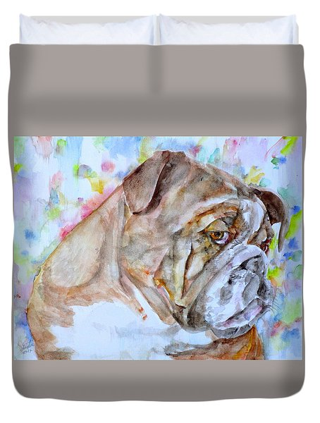 Duvet Cover featuring the painting Bulldog - Watercolor Portrait.7 by Fabrizio Cassetta