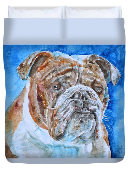 Duvet Cover featuring the painting Bulldog - Watercolor Portrait.8 by Fabrizio Cassetta