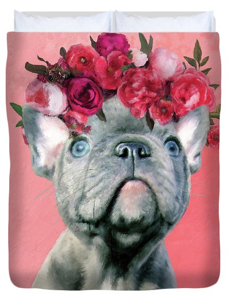 Bulldog With Flowers Duvet Cover