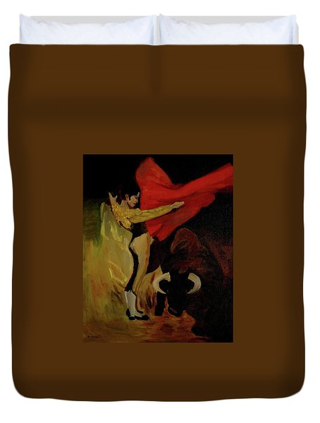 Bullfighter By Mary Krupa Duvet Cover by Bernadette Krupa