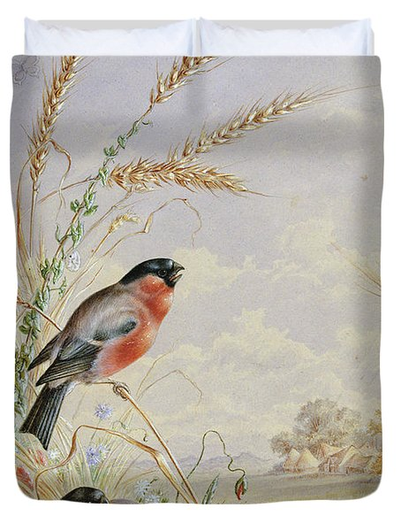 Bullfinches In A Harvest Field Duvet Cover by Harry Bright