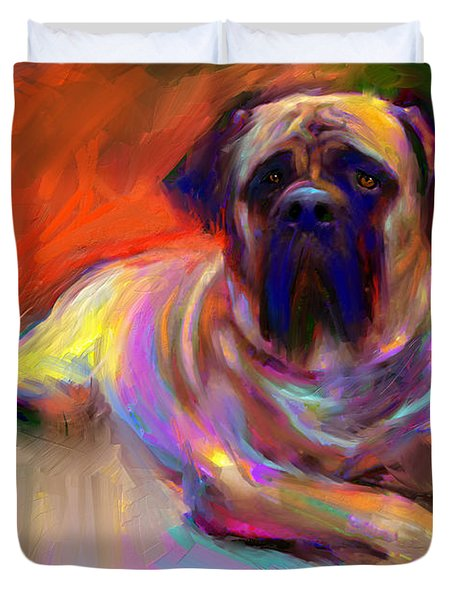 Bullmastiff Dog Painting Duvet Cover