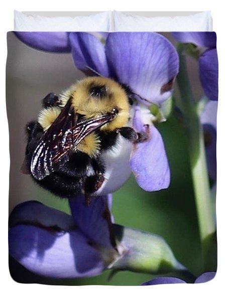 Bumble Bee, Blue Indigo Duvet Cover