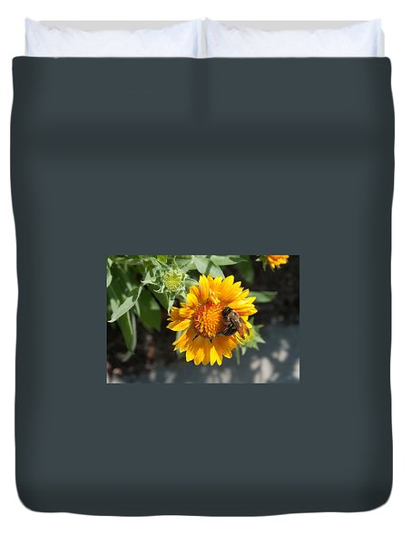 Bumble Bee Collecting Pollen On Sunflower Duvet Cover