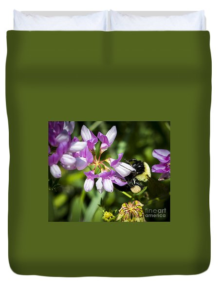 Duvet Cover featuring the photograph Bumble Bee Pollinating A Flower by Ricky L Jones