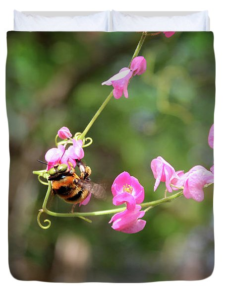 Duvet Cover featuring the photograph Bumble Bee1 by Megan Dirsa-DuBois