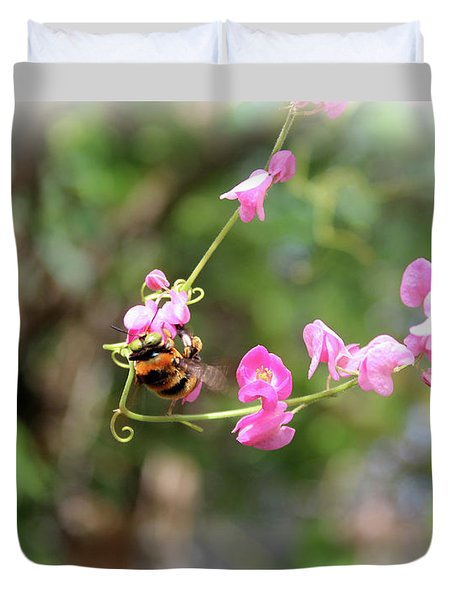 Duvet Cover featuring the photograph Bumble Bee2 by Megan Dirsa-DuBois