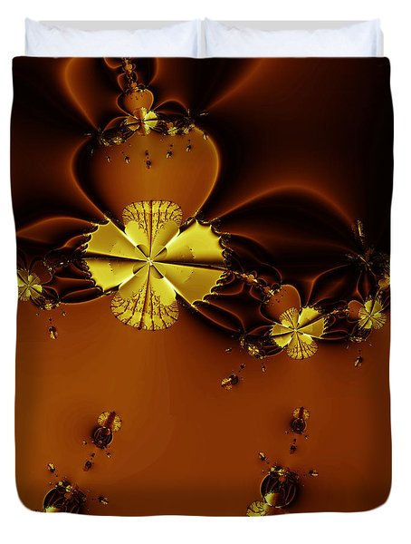 Bumble Beez Over Chocolate Lake . Square . S19 Duvet Cover