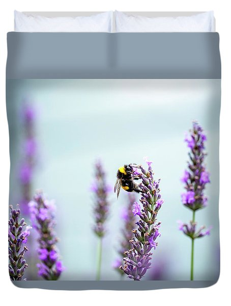 Bumblebee And Lavender Duvet Cover