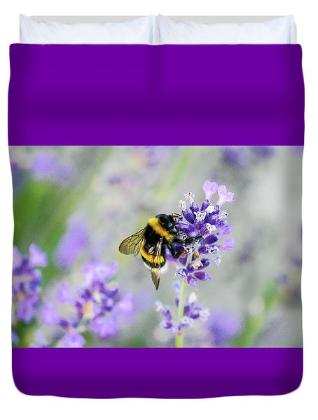 Duvet Cover featuring the photograph Bumblebee by Bee-Bee Deigner