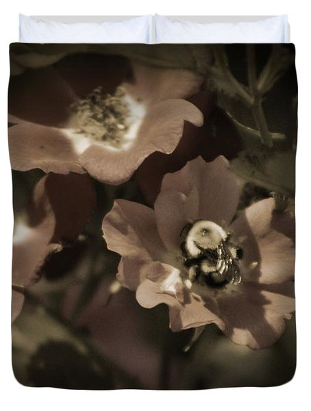 Bumblebee On Blush Country Rose In Sepia Tones Duvet Cover